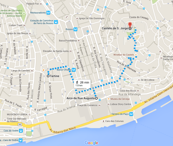 walking from tartine the breakfast place to the arc then to castelo