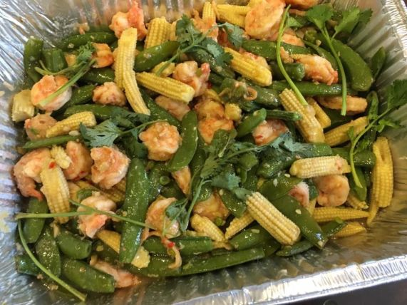 sweat peas baby corns with prawns
