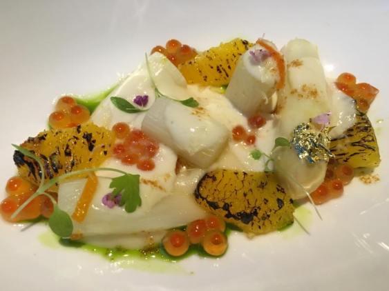 #2 white asparagus with 24mths comte, ikura2