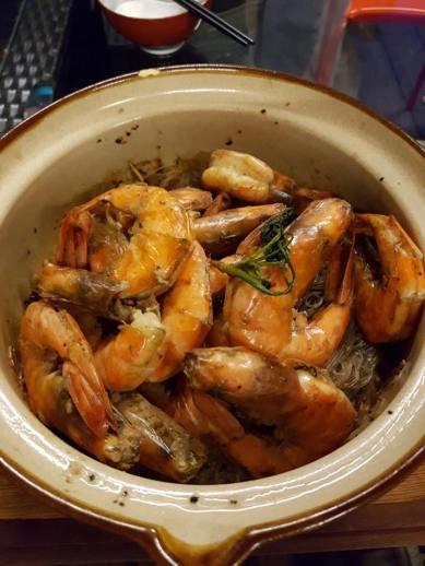 claypot tanhoon prawns