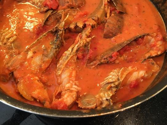 crayfish in pink sauce