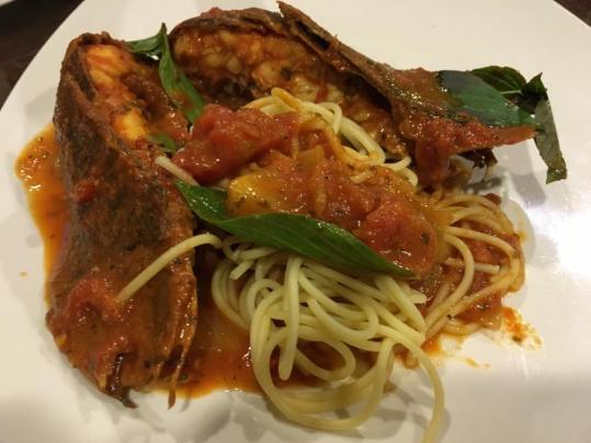 crayfish pasta in pink sauce