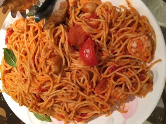 prawn spaghetti in pink sauce
