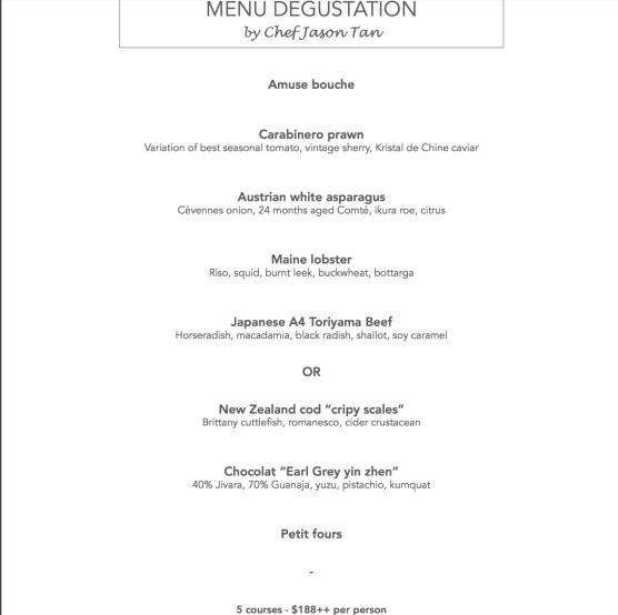 Chef Jason Tan's Menu Degustation
