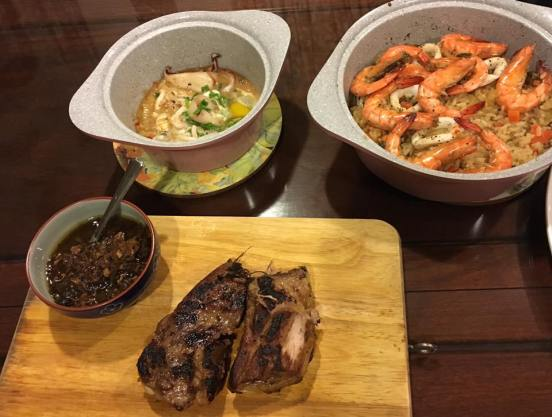 pork ribs, seafood apella & garlic squid