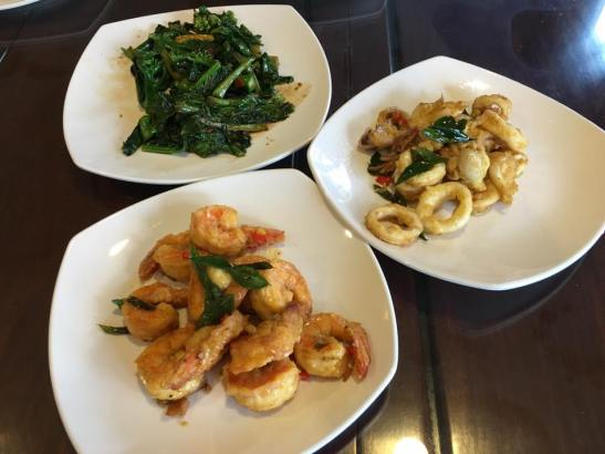 salted egg sotong, salted egg prawns, fried kai lan