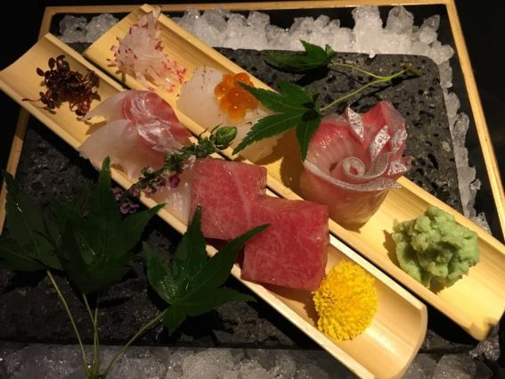 sashimi moriawase - otoro, tai, hamachi, ika