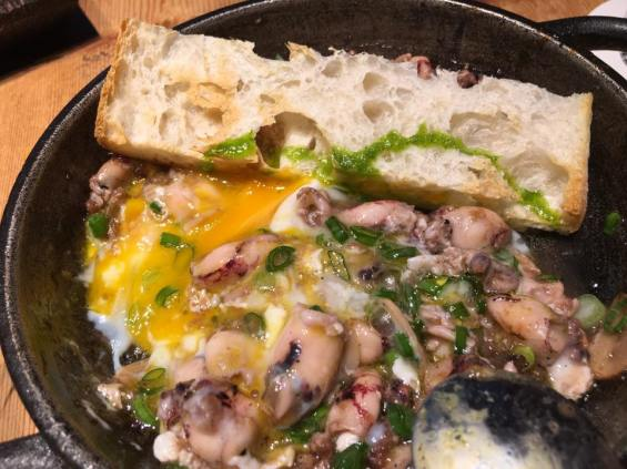 squid dish with egg & brioche