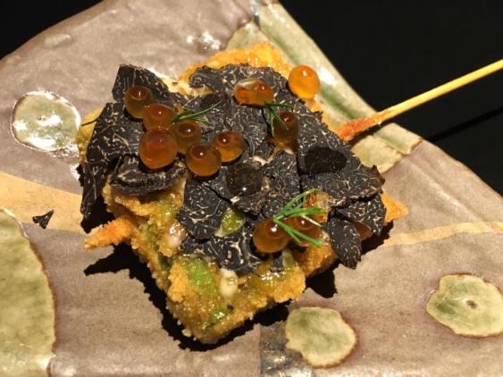 tempura asparagus with truffle