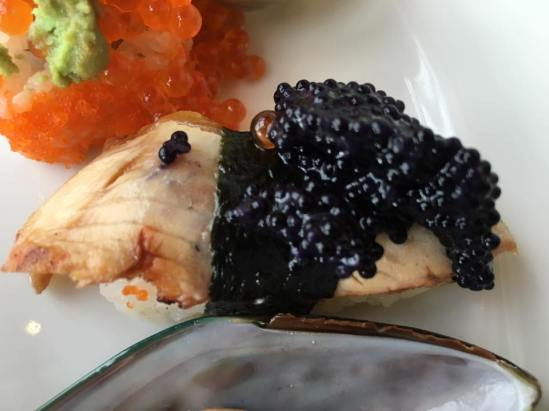 unagi sushi topped with caviar