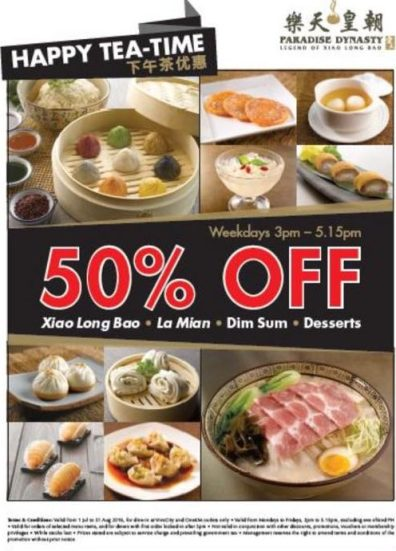 paradise dynasty promo - weekdays 3pm-515pm dimsum lamian 50% off