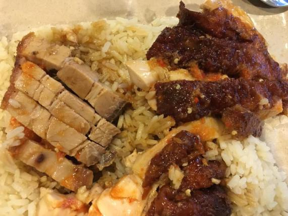 $4 roast chicken drumstick rice + S$1 roast pork