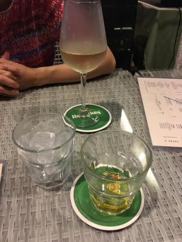 ballantine whisky and white wine