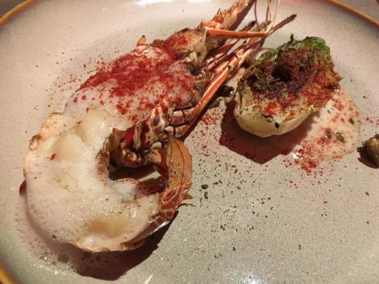 grilled lobster with foam