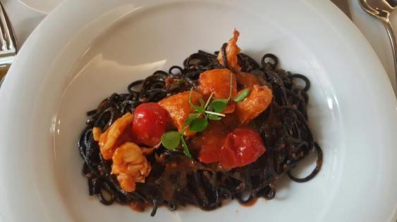 lobster squid-ink taglierini in tomato sauce