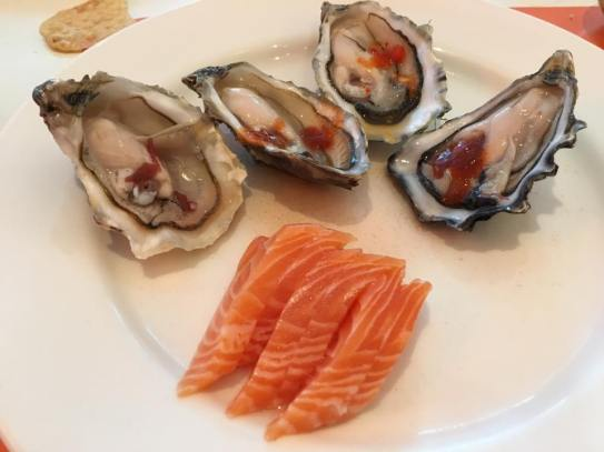oysters & salmon belly