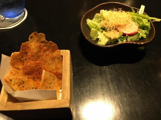 prawn crakers & salad