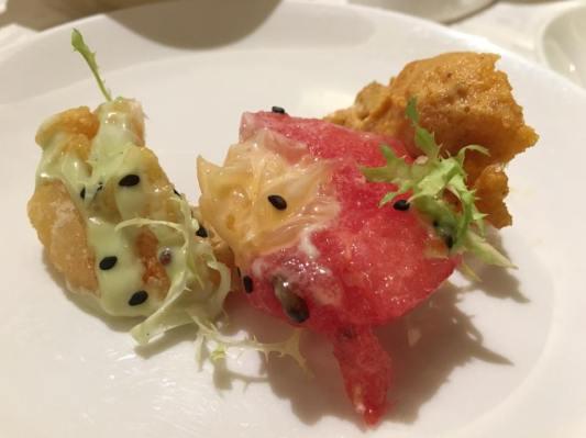 prawn in 2ways=wasabi mayo & salted egg