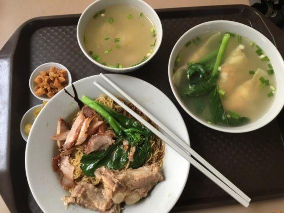 S$3 wanton noodles + S$1 pork ribs & S$3 dumplig soup