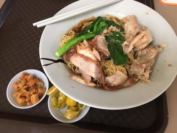 S$3 wanton noodles + S$1 pork ribs & larpok crispy lard