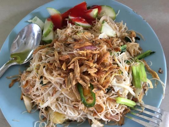 white beehoon goreng with ikan bilis