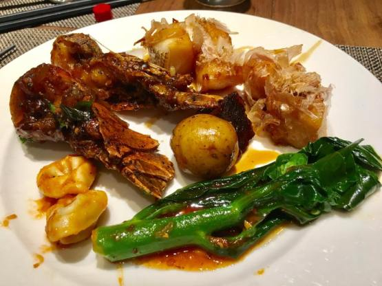 black pepper crayfish, roasted cod with bonito, kailan