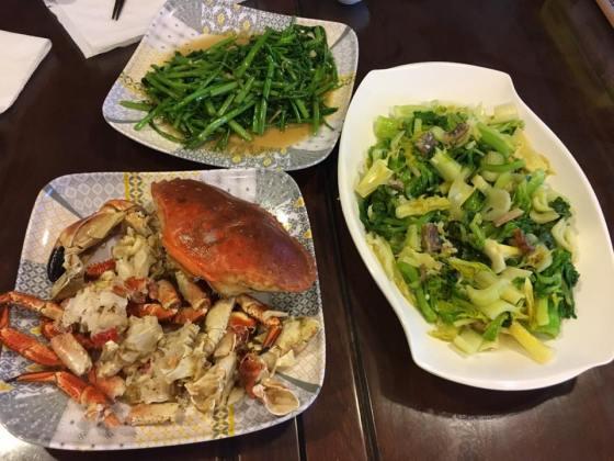 面包蟹,celery & kang kong