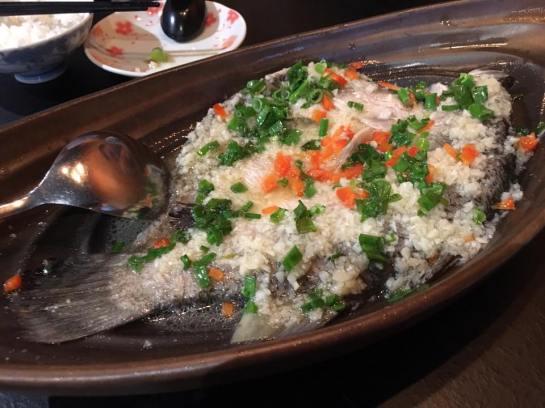 garlic steamed seabass