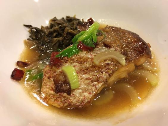 golden snapper fillet with mei cai 梅菜