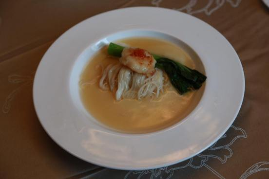 grilled scallops on noodles on chawanmushi egg white