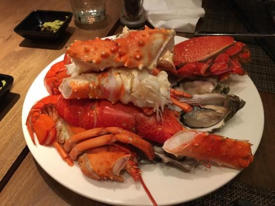 lobster,alaskan crab, spanner crab, oysters
