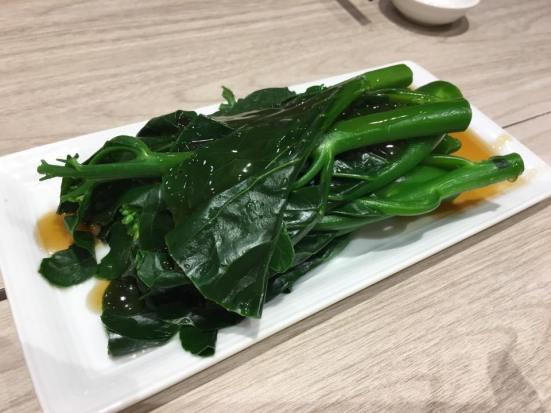 poached hk kai lan