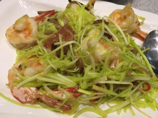 prawn with yellow chives S$48