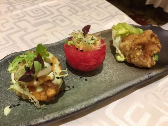 prawns in 2 ways - wasabi & salted egg (S$10)