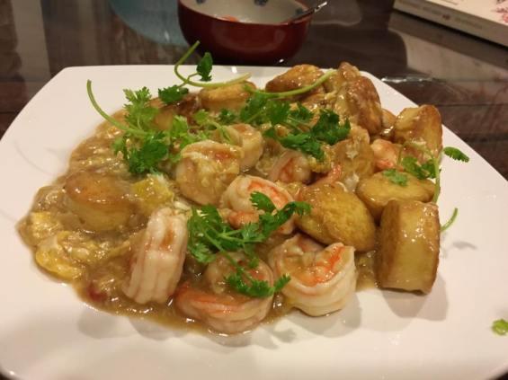 prawns with egg tofu