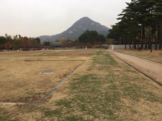 Day 1 - we walked by Gyeonghoe-ru Pavilion 庆会楼. bugaksan in the distance