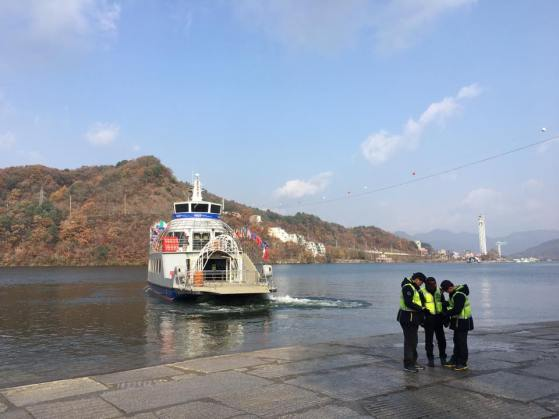 ferry leaving nami island 남이섬 南怡岛