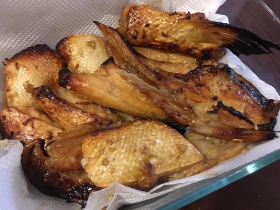 grilled teriyaki slamon belly