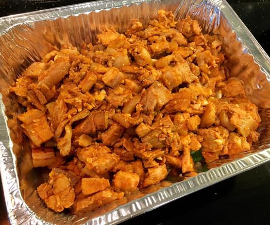 korean grilled belly pork with gochujang + onions & leek