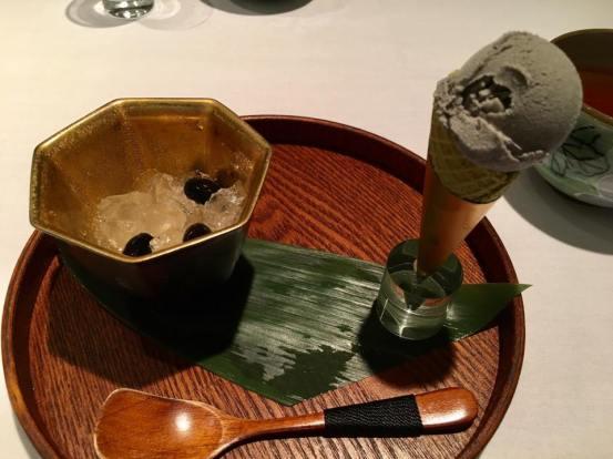 lemon jelly with kuromame + black sesame ice cream