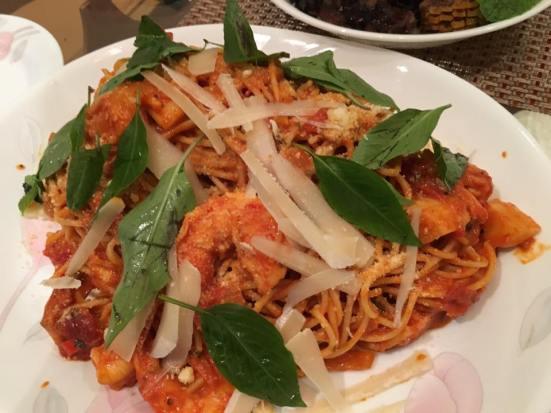 prawn & scallop pasta in pink sauce