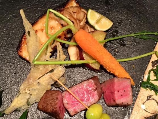 truffle miso cod + A5 ohmi wagyu