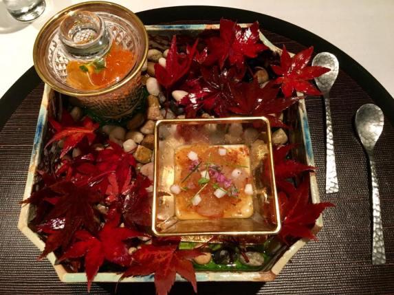 uni ikura on king crab + botan ebi with corn veloute