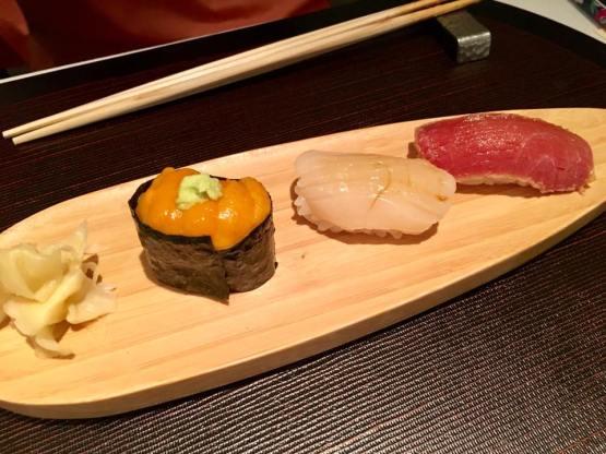 uni + hotate + chutoro sushi