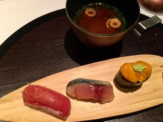 chutoro + saba + uni sushi