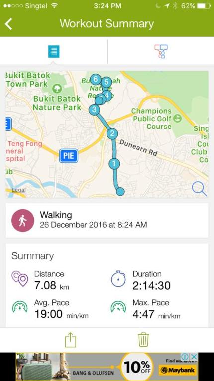 3.75km round trip up via south view path & down the paved road at bukit timah hill in 1.5hrs