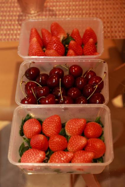 very sweet strawberries & cherries