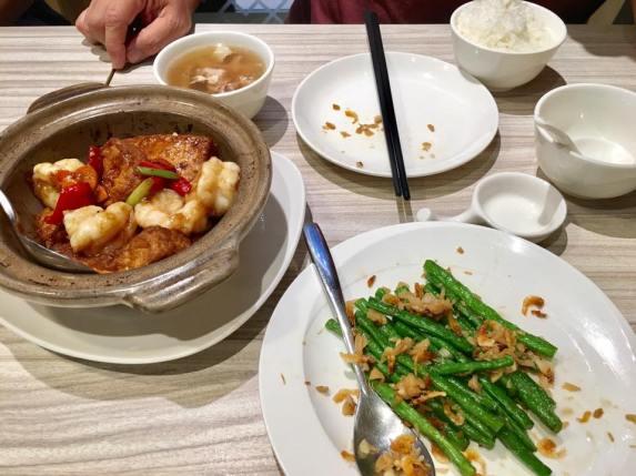 claypot tofu prawns + string beans