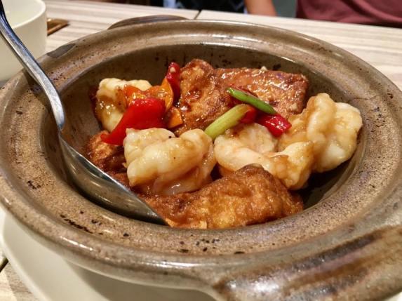 claypot tofu prawns