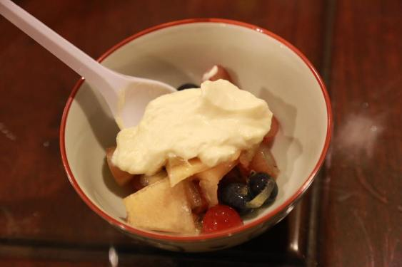 excellent fruit salad with chantily cream